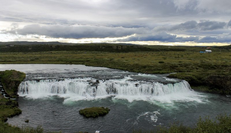 The wide waterfall in Iceland, when viewed from the high vantage point, is stunning!