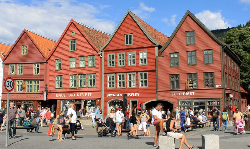 The port city has charming construction and the earthy tones highlight that the wood in Norway is good as the song says!