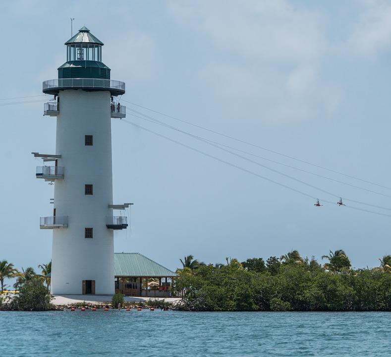 lighthouse, people, zip line