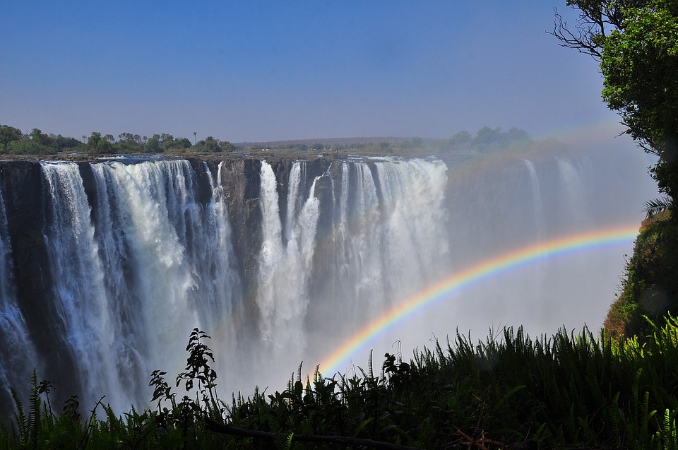 rainbow, waterfall, water