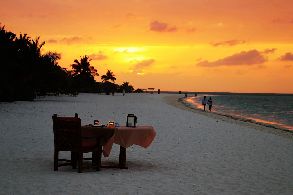 sunset, beach, table