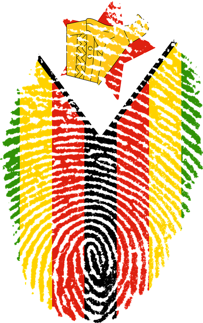 zimbabwe, flag, fingerprint