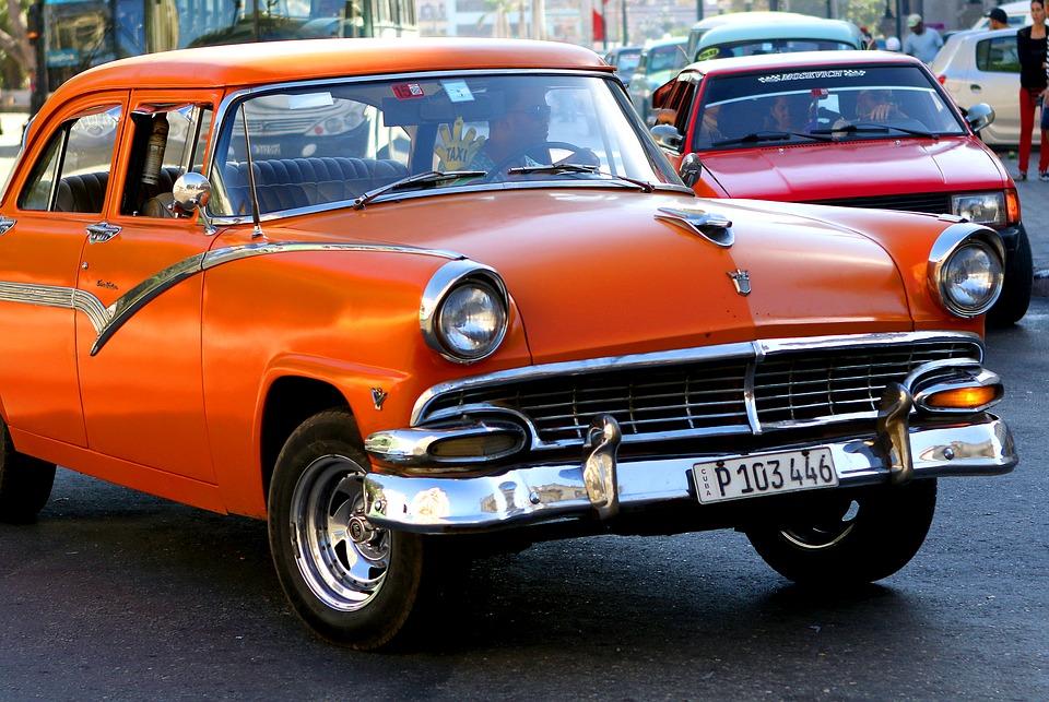 cuba, car, orange
