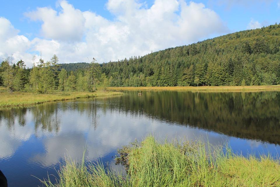 lake, sky, mirroring
