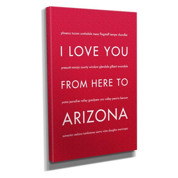 "Arizona State Travel Art Print on Canvas, Red, 8""x10"""
