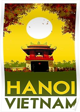 HANOI VIETNAM: Vintage Travel Advertising Print Poster