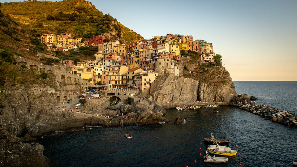 manarola, sunset, sea