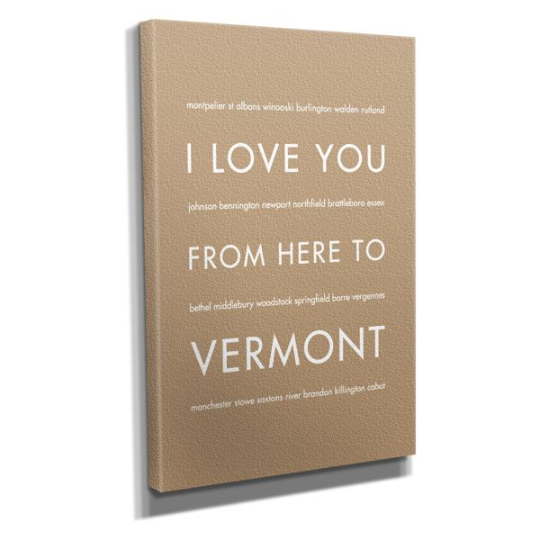 "Vermont State Travel Art Print on Canvas, Tan, 16""x20"""