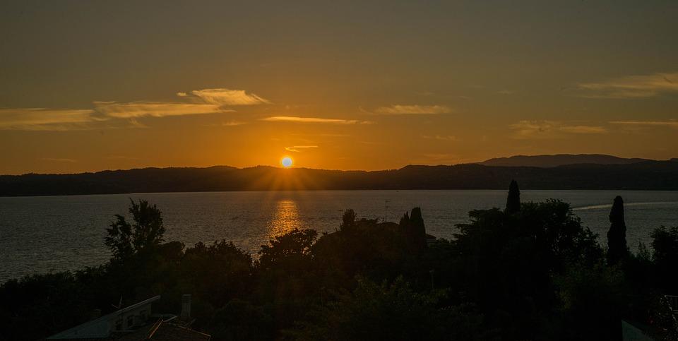 sunset, lake garda, italy