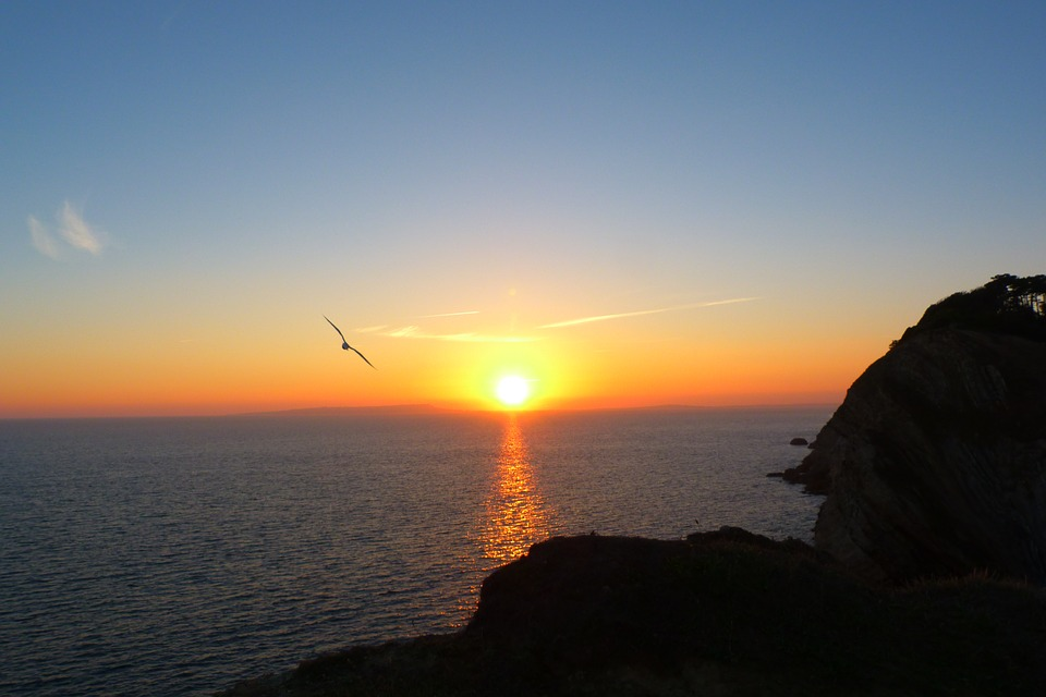 sunset, west lulworth, dorset